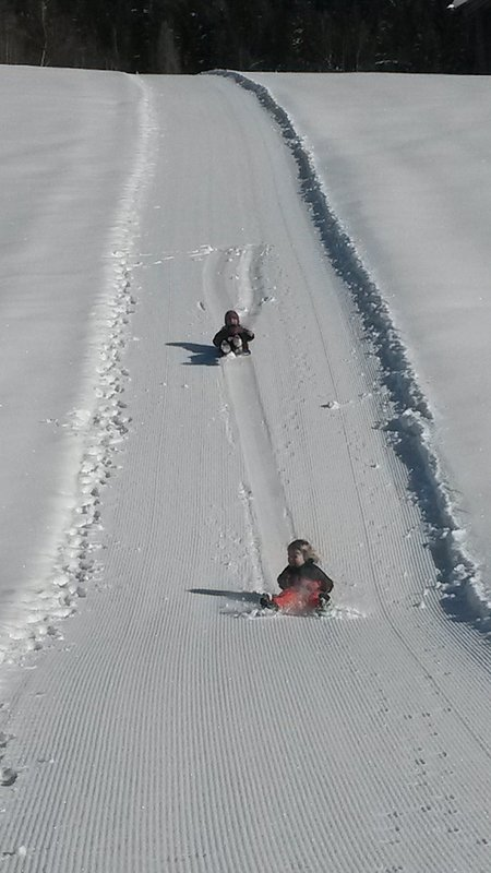 Our toboggan run in front of the house