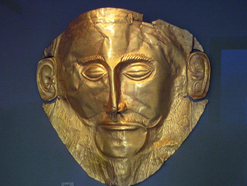 máscara de Agamenon. Se puede ver en el Museo 5 min de Estudio Bodega