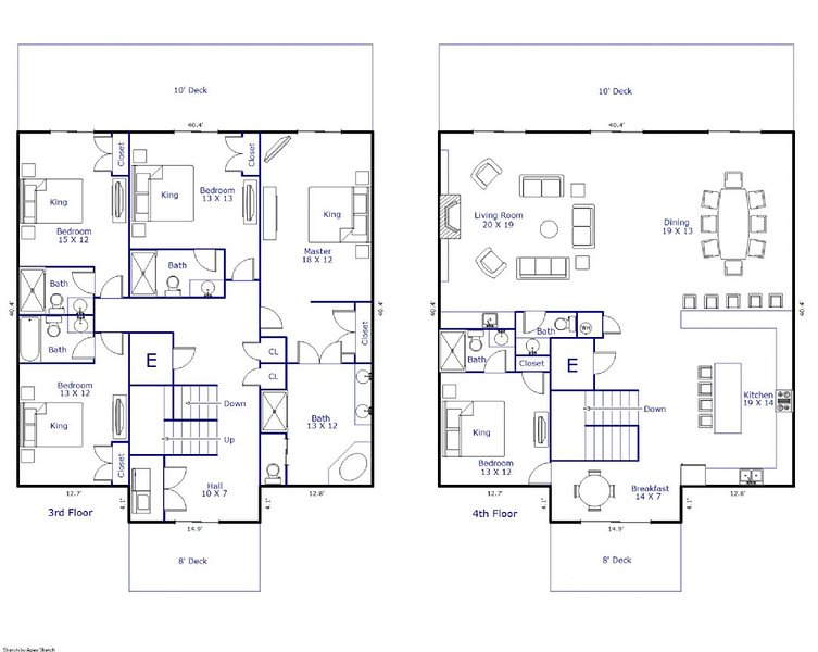 Floor Plan - Floors 3 & 4