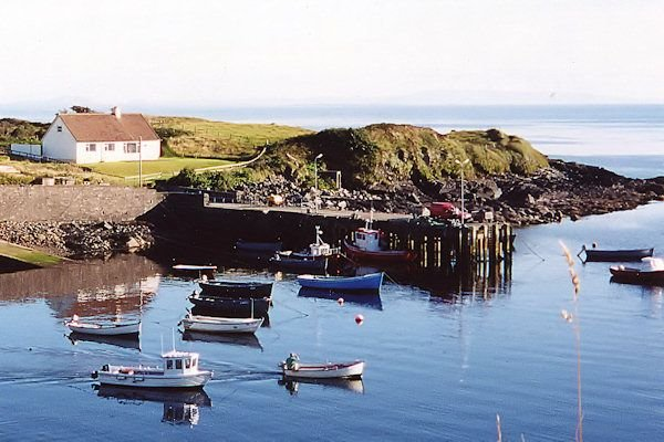 above small sheltered harbour with slipway