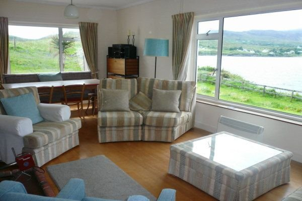 living room with view of Teelin estuary