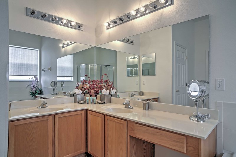 You'll have plenty of space to primp at this wraparound vanity.
