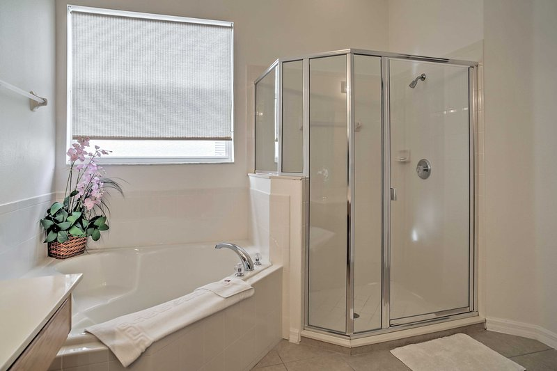 Enjoy a long soak in the tub, or a quick rinse in the walk-in shower!