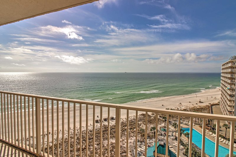 Feast your eyes on scenic coastline views from this 2-bedroom Panama City Beach vacation rental condo.