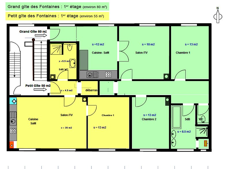 plan off the apartment  Gîte SUD ALSACE IN GREEN COLOR