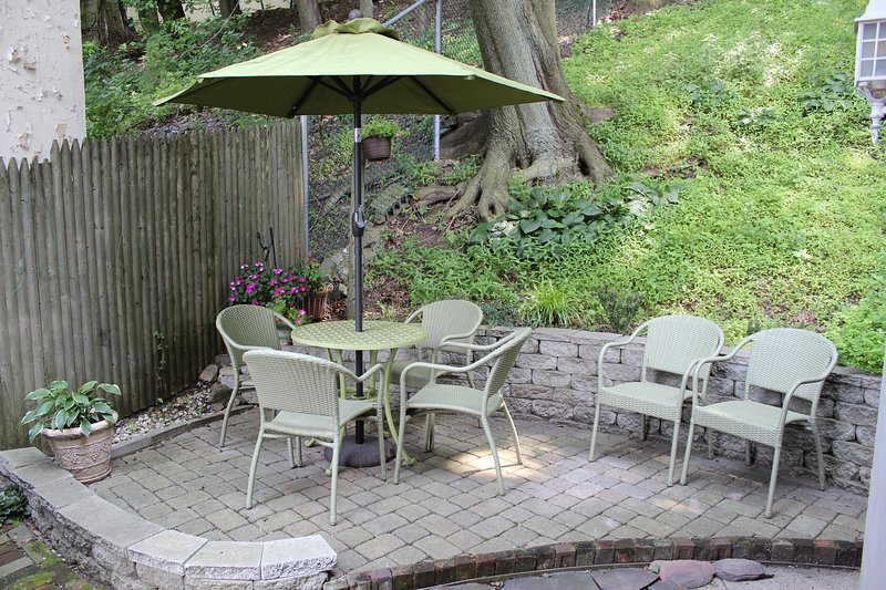 Private stone patio and garden right outside your kitchen