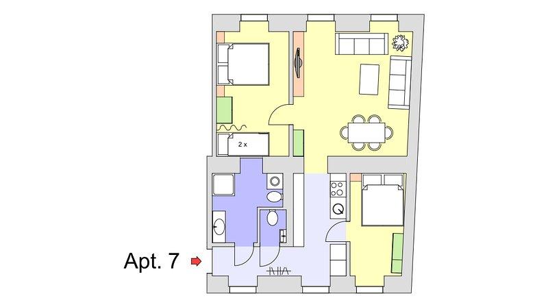 Floor plan Apt. 7 - sleeping 6 persons.