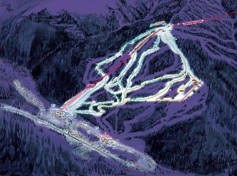 night skiing map