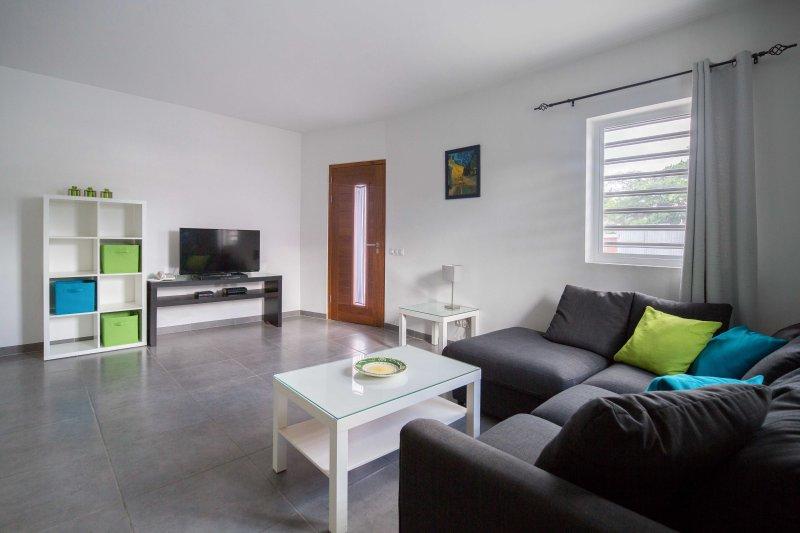 Comfortable L-shaped sofa and flat screen TV. Front door entrance.