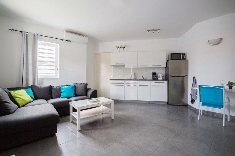 Modernamente apartamento com sala de estar conceito aberto com ar condicionado