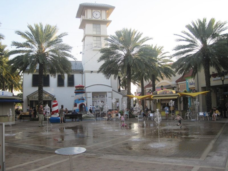 Kids love to play in the fountains at Destin Commons Town Center