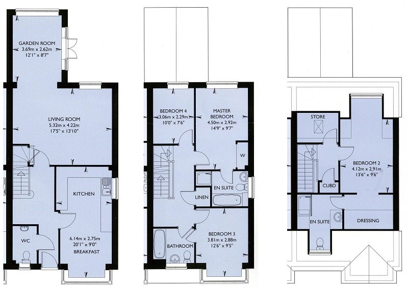 Floor plan of the 3 levels. Note that the storage and cupboard areas of the top floor are not avail.