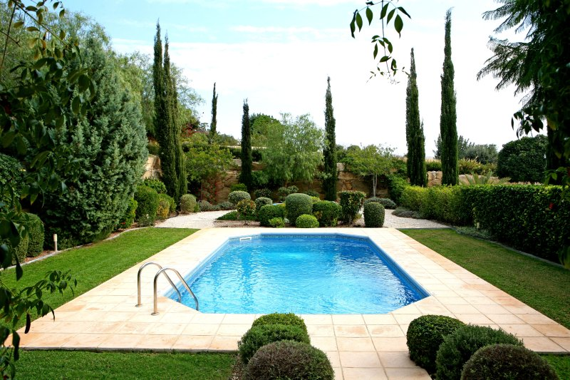 Private Pool at the rear surrounded by garden
