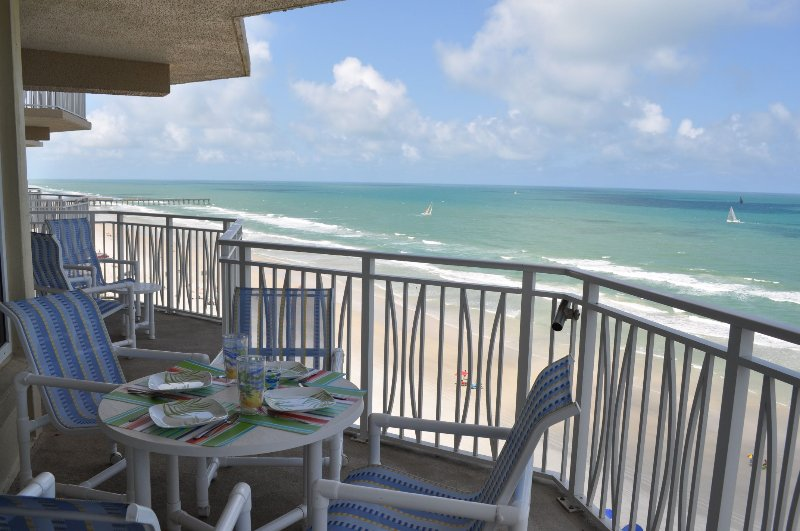 End unit with double oceanfront patio