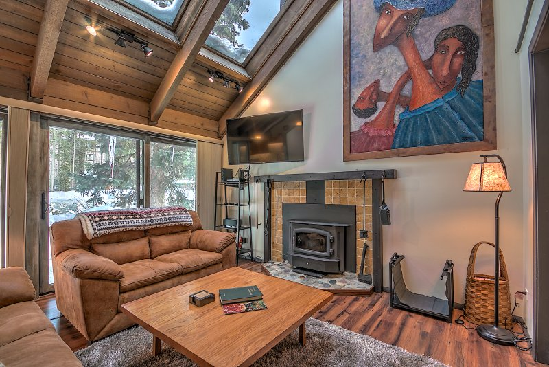 Living area with skylights and fireplace