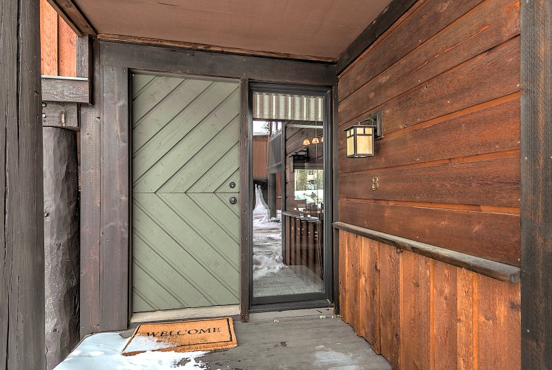 Back door with covered entry