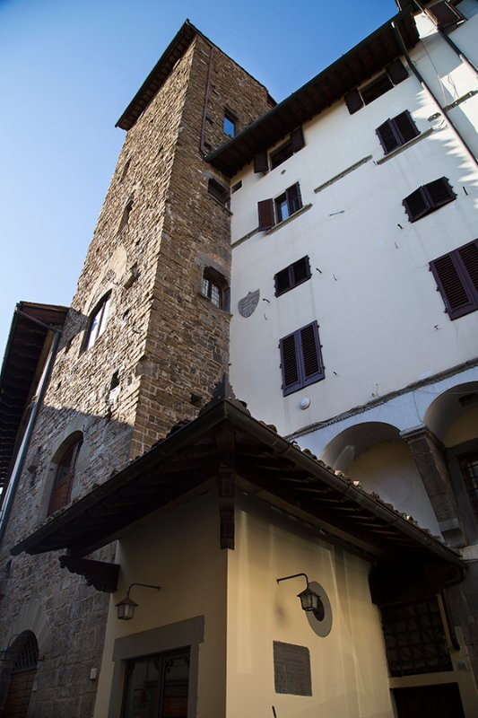 View of the Corso Donati Tower with the connected Renaissance building of the Corbizi family