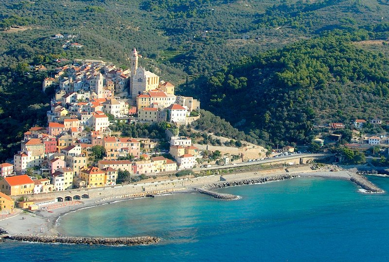 Aerial view of the medieval village of Cervo