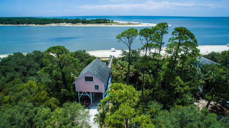 House, beach, and Gulf of Mexico