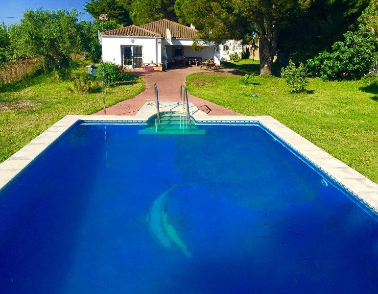 piscina profonda enorme in splendido ambiente di campagna andalusa, con vista mare in lontananza per l'Atlantico
