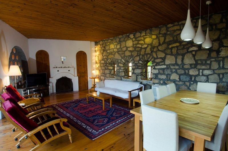 Comedor y sala de estar con chimenea