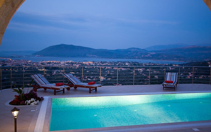 Stunning night view Of Lefkada from Luxurious Villa Rubini