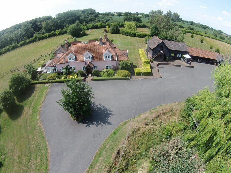 Ariel view showing peaceful rural location of Paddock Barn