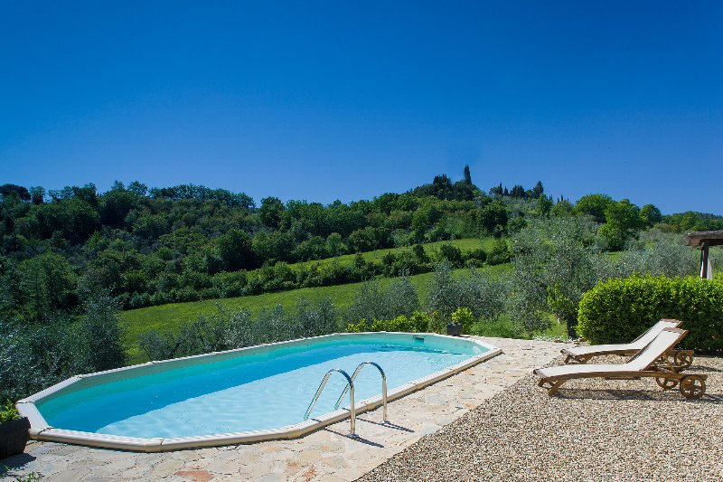 Private Swimming Pool with View of the Tuscan Hills