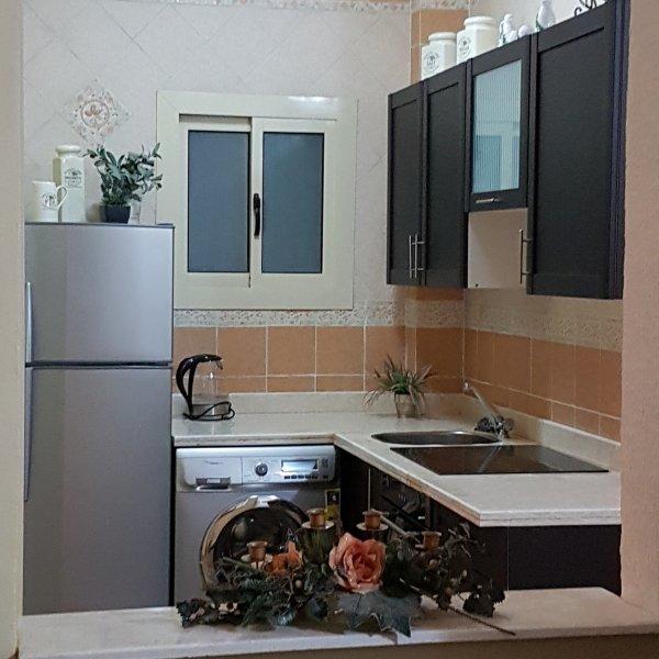 Kitchen with fridge-freezer, washing machine, ceramic hob, oven ...