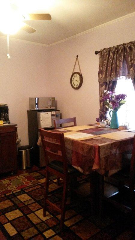 Kitchenette. Ventilador de teto. Frigorífico pequeno, microondas, cafeteira, ketle elétrico de água, gravador de balcão único para a cozinha simples