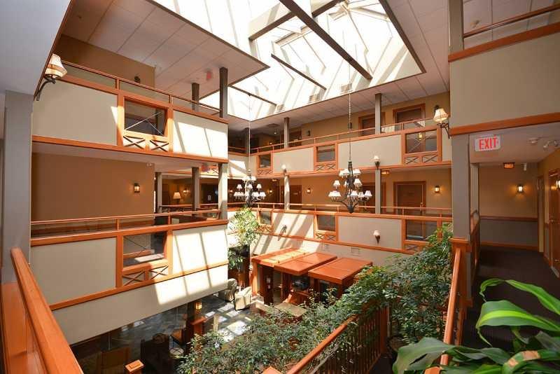 Inside building atrium