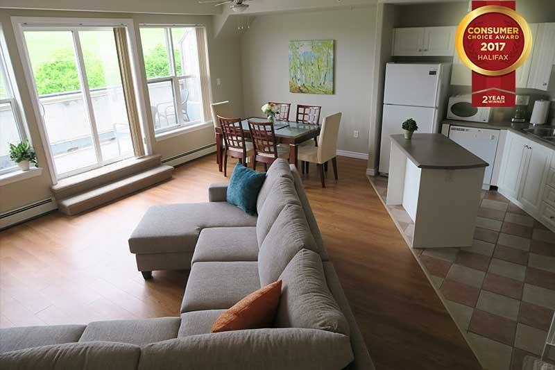 Living Area and Kitchen Overlooking Citadel Hill