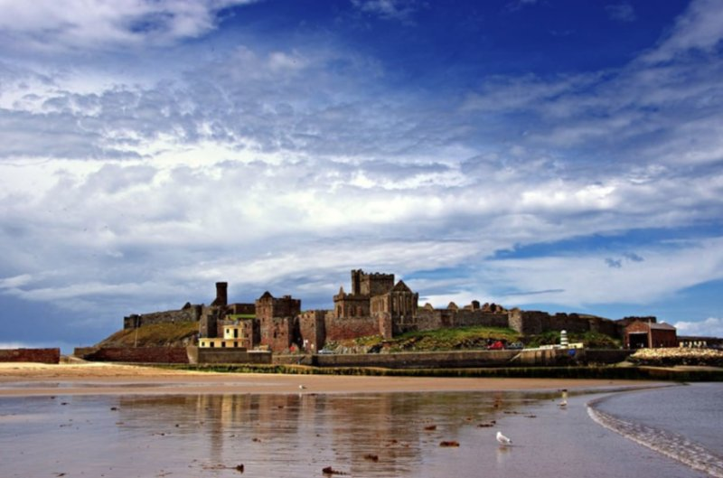 View of Peel Castle from the promenade.