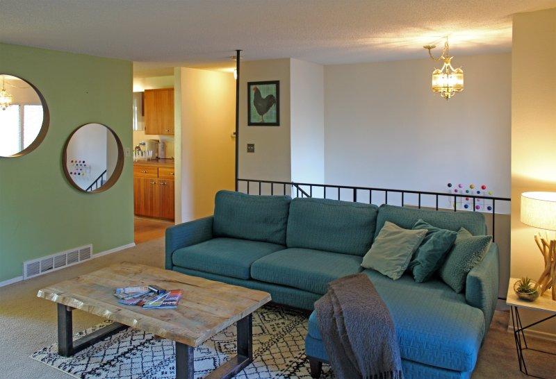 Spacious living room with comfortable sofa