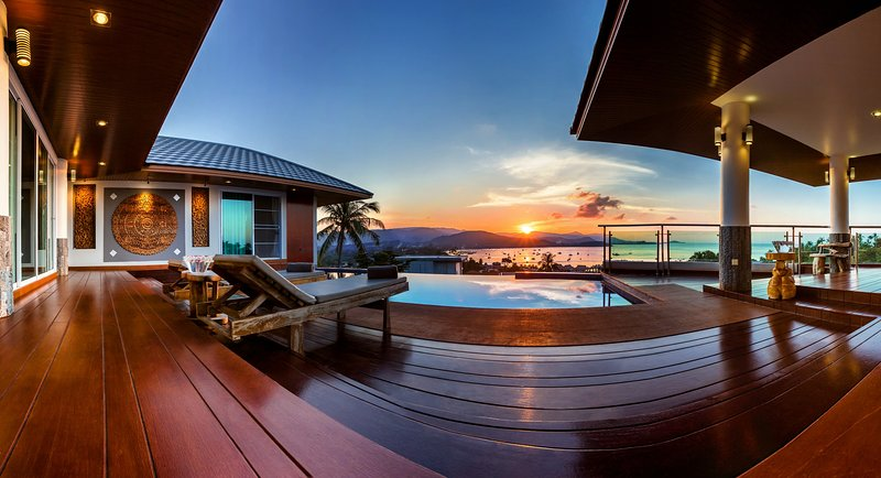 private swimming pool with stunning sea view, sunset side