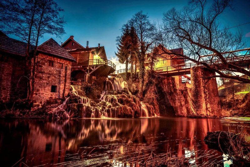Rastoke Falls - historical water mill village. 10 minutes walk away