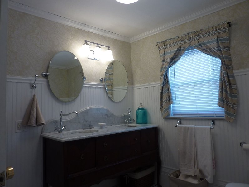 New vanity in newly redone master bathroom (with claw footed soaker tub.