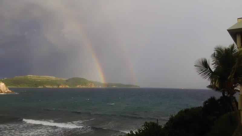 Double rainbow.  Photo taken from the balcony.