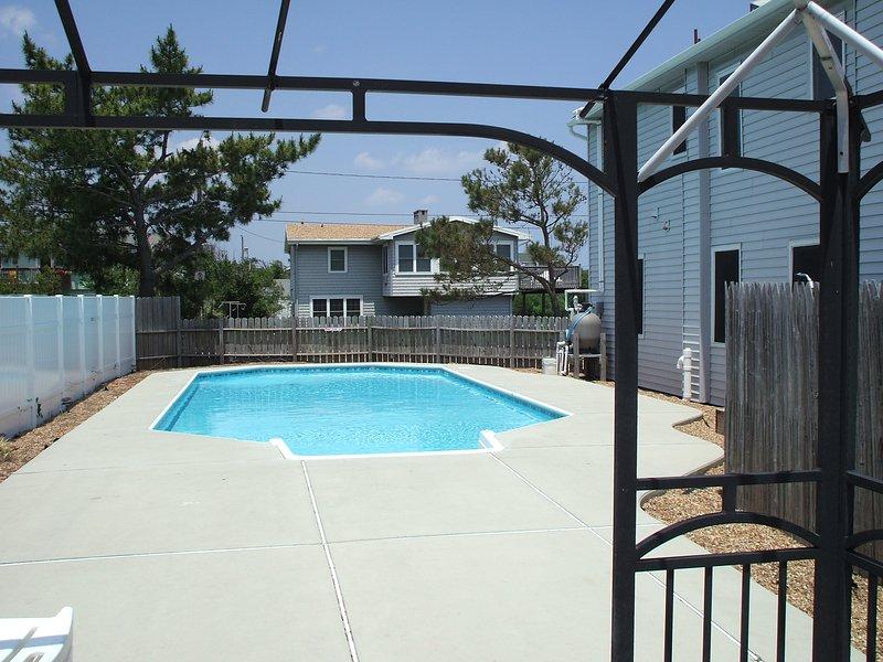 Solar-heated pool from gazebo