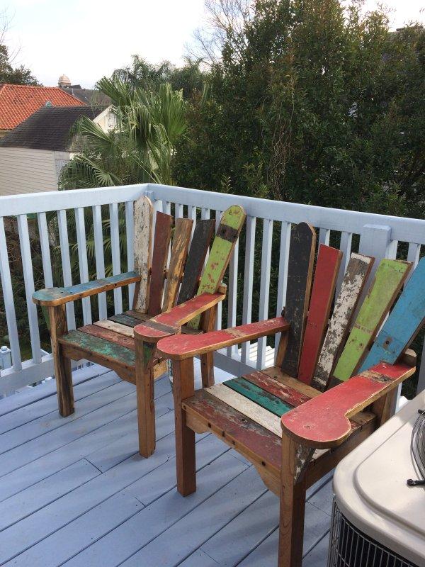 Pont arrière chaises en bois de teck