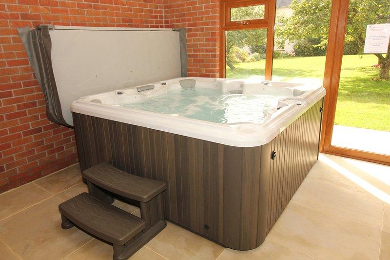 bañera de hidromasaje, 7 plazas, natación dentro del edificio de la piscina
