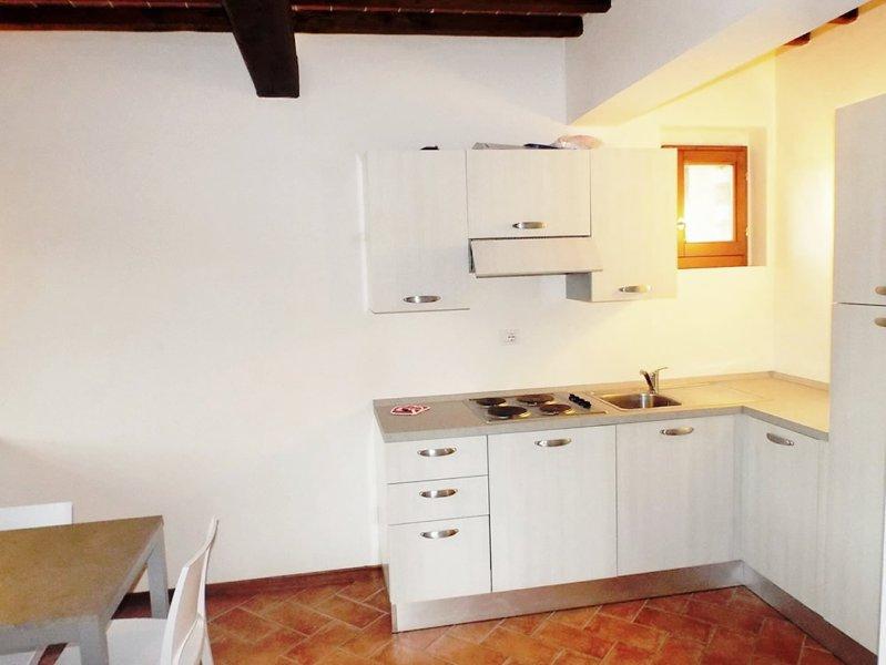 Kompakte Küche mit Herd, Geschirrspüler und Kühl- / Gefrierschrank