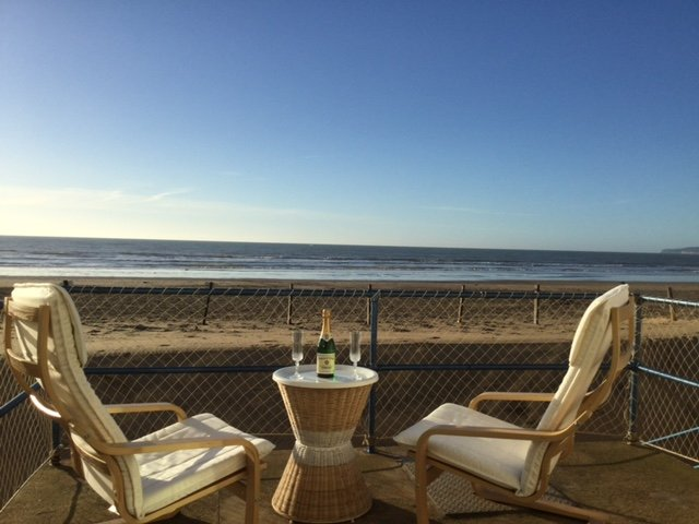 Stunning views from the terrace with direct access to the award winning beach at Camber Sands.