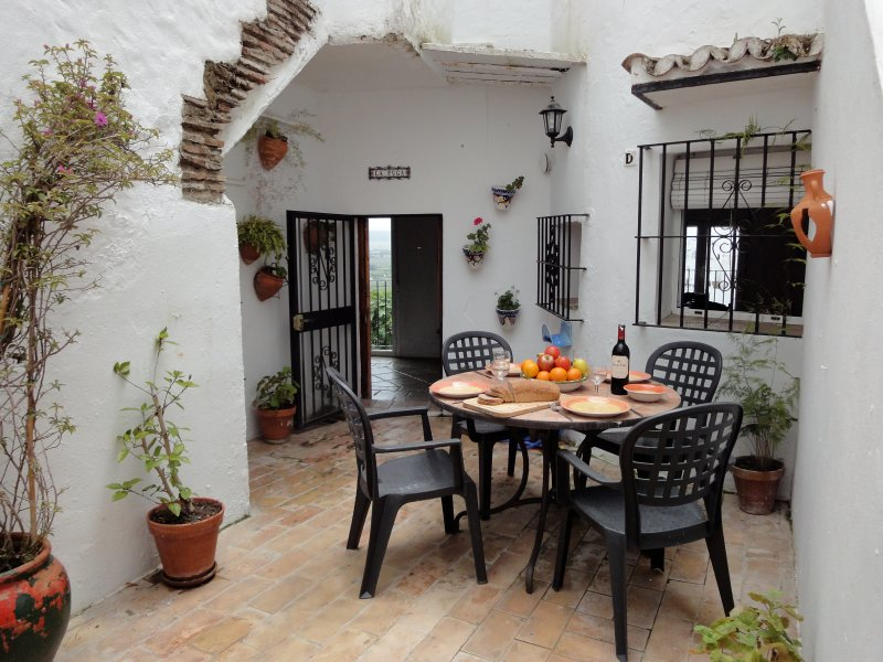 partly shaded patio