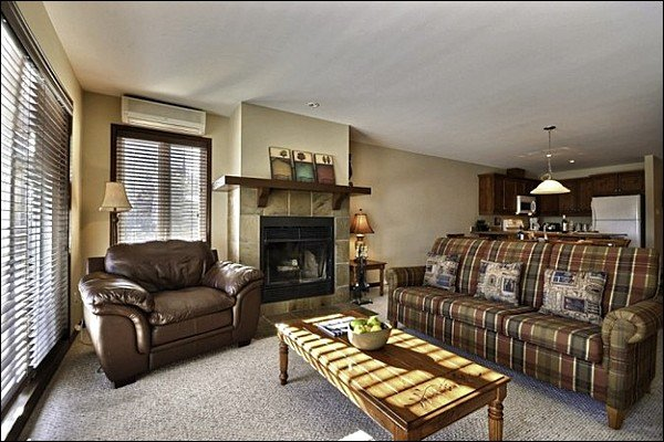 The Inviting Living Area Featuring a Warm Wood Burning Fireplace