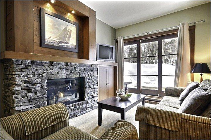 Vardagsrummet har en plattskärms-TV och sten öppen spis