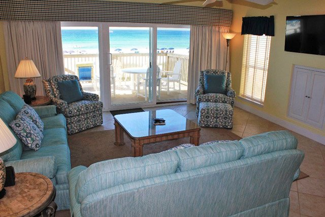 Living Room w/ New Couches, Chairs and Gulf Views