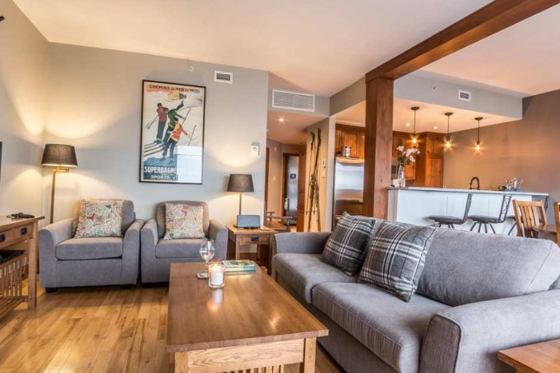 The Modern Furnishings and Decor are Featured in the Cozy Living Area