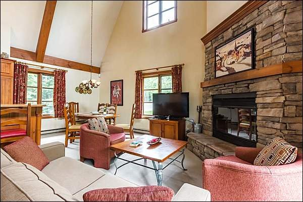 Living Room with Stone Fireplace and TV
