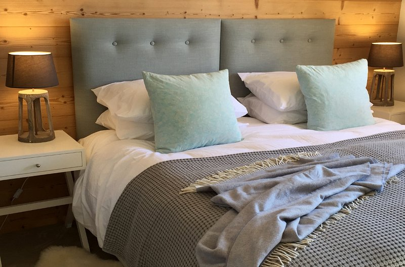 Super king size bed with cotton bed linen